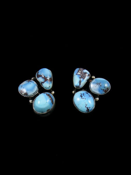 Navajo Golden Hill Turquoise Sterling Silver Post Earrings
