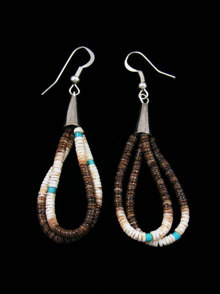 Navajo Shell Heishi and Turquoise Dangle Earrings