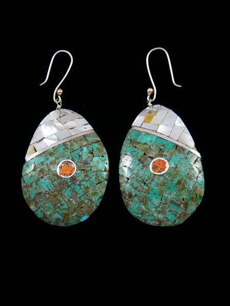 Mosaic Mother of Pearl and Turquoise Santo Domingo Inlay Earrings