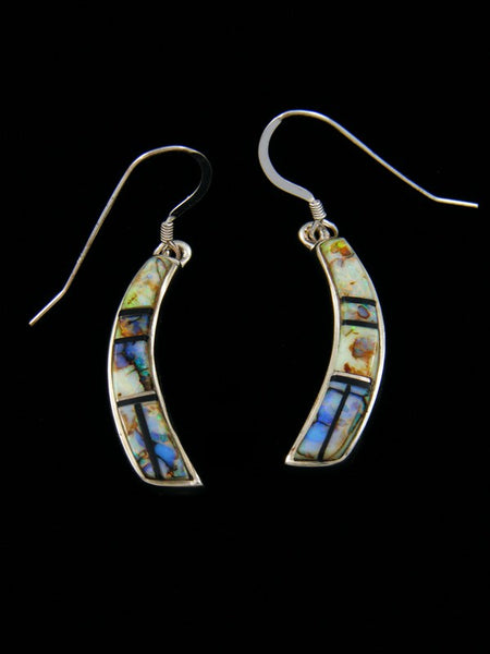 Cultured Opal Inlay Dangle Earrings