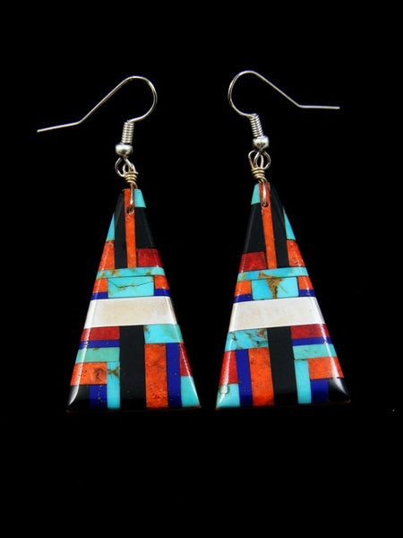 Santo Domingo Inlay Turquoise Coral Dangle Earrings