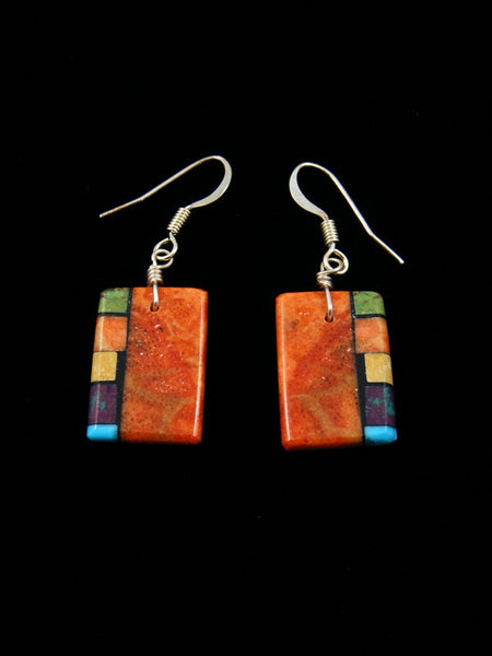 Navajo Apple Coral Mosaic Inlay Dangle Earrings