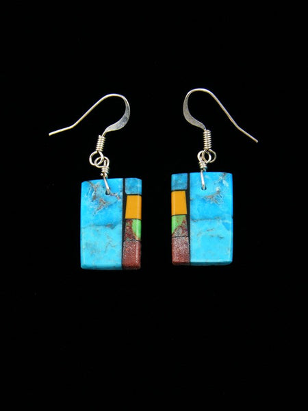 Navajo Turquoise Mosaic Inlay Dangle Earrings