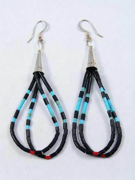 Navajo Turquoise and Coral Heishi Dangle Earrings