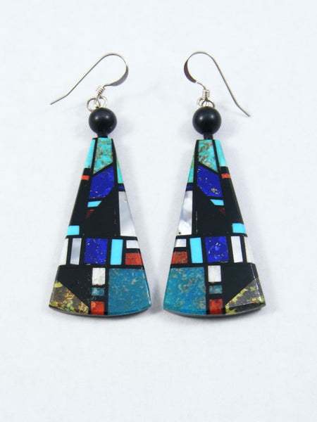 Santo Domingo Turquoise Inlay Dangle Earrings