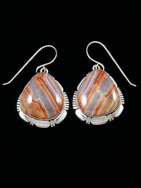 Navajo Laguna Lace Agate Sterling Silver Dangle Earrings