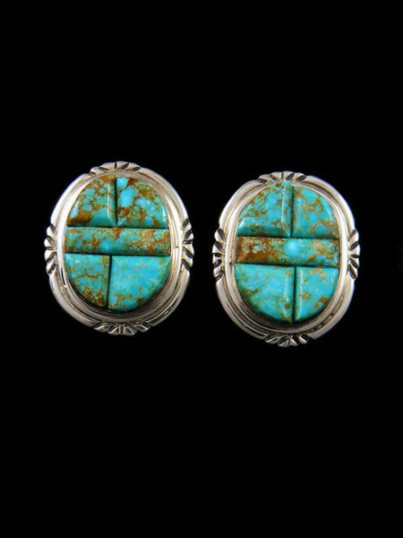 Navajo #8 Turquoise Sterling Silver Post Earrings