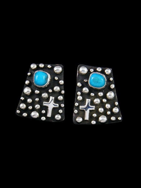 Native American Droplet and Cross Turquoise Post Earrings