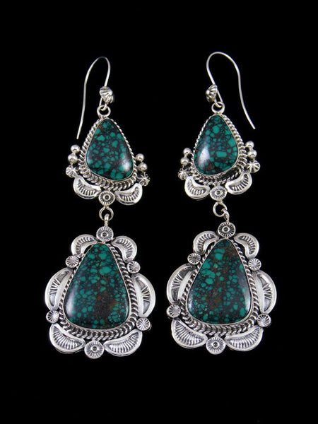 Navajo Sterling Silver Cloud Mountain Turquoise Dangle Earrings