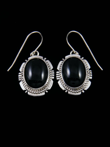 Navajo Sterling Silver Onyx Dangle Earrings