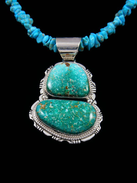 Native American AZ South Hill Turquoise Sterling Silver Necklace