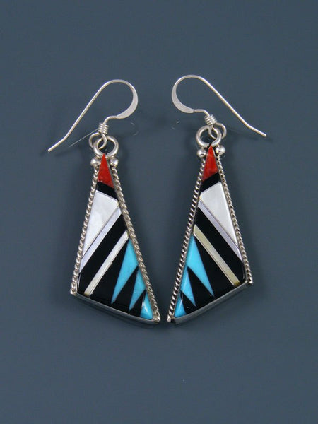 Zuni Turquoise and Coral Inlay Dangle Earrings