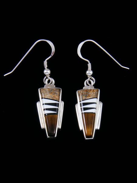 Native American Jasper and Onyx Inlay Dangle Earrings