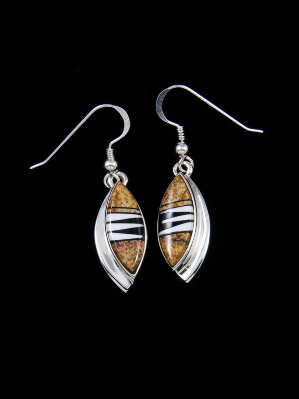 Jasper and Onyx Navajo Inlay Dangle Earrings