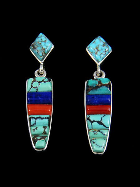 Inlay Turquoise Lapis and Coral Earrings