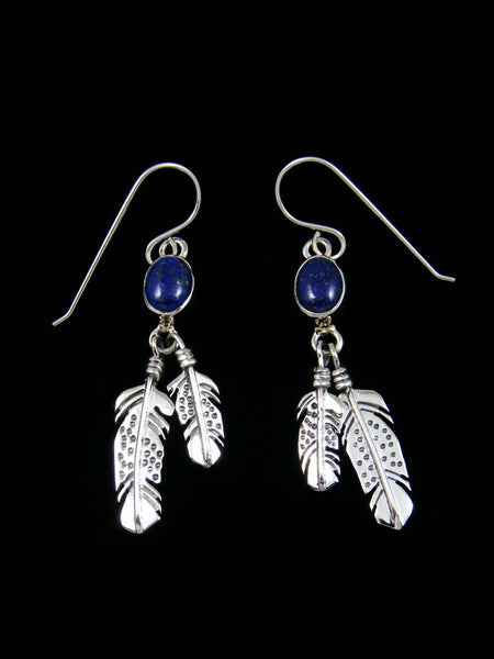 Lapis Sterling Silver Feather Dangle Earrings