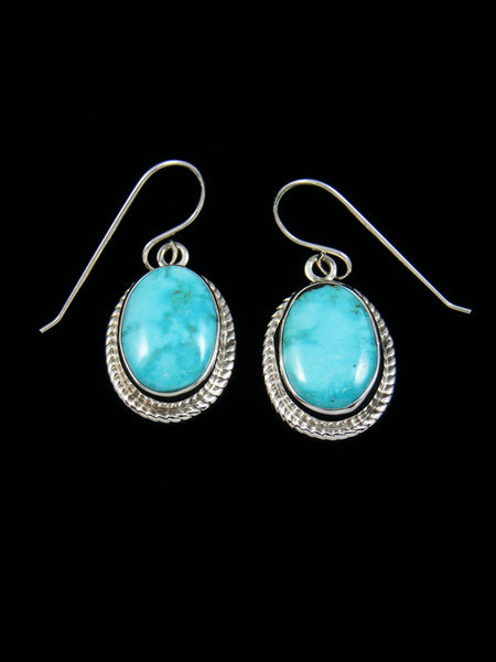 Sterling Silver Carico Lake Turquoise Dangle Earrings