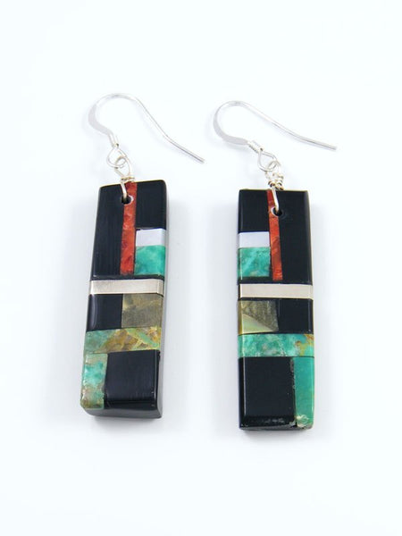 Mosaic Turquoise and Jet Santo Domingo Inlay Earrings