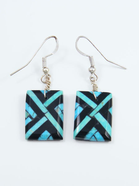 Santo Domingo Turquoise and Jet Inlay Mosaic Earrings