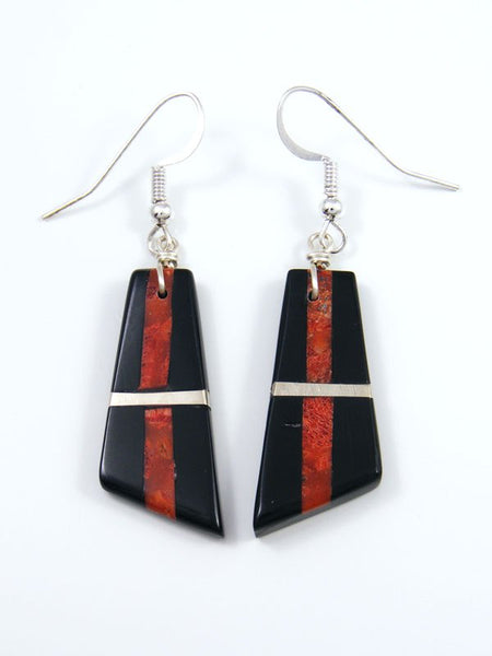 Mosaic Apple Coral and Jet Santo Domingo Inlay Earrings