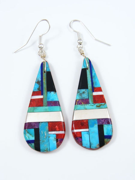Turquoise and Coral Santo Domingo Inlay Dangle Earrings
