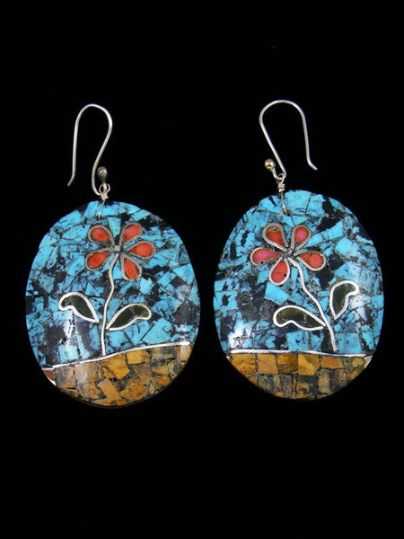 Mosaic Spiny Oyster and Turquoise Santo Domingo Inlay Earrings