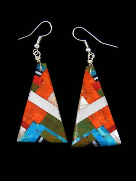 Turquoise and Apple Coral Santo Domingo Inlay Dangle Earrings