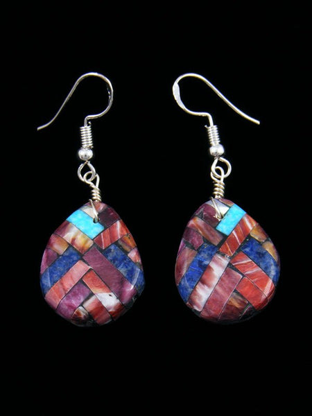 Santo Domingo Spiny Oyster Inlay Mosaic Earrings