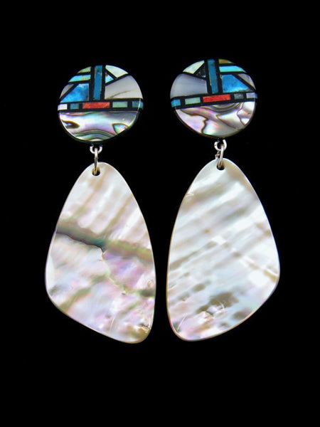 Santo Domingo Mosaic Inlay Post Abalone Earrings