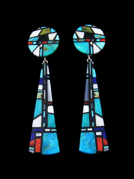 Santo Domingo Mosaic Inlay Post Turquoise Earrings