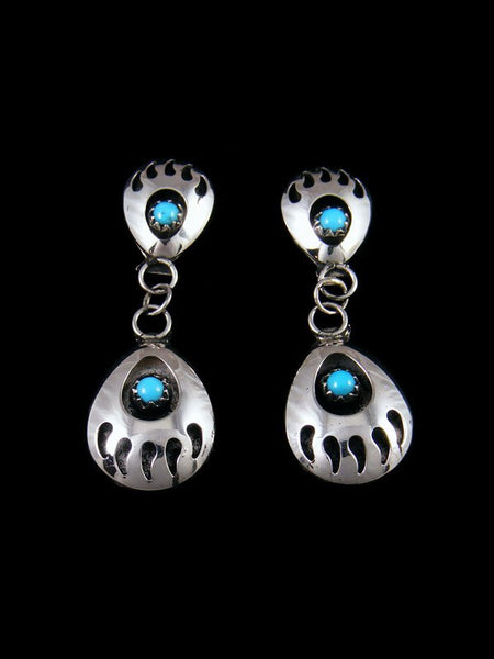 Navajo Bear Paw Post Earrings with Turquoise