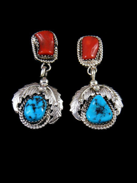 Navajo Turquoise and Coral Post Earrings