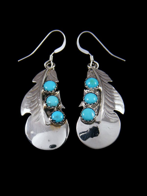 Sterling Silver Turquoise Feather Dangle Earrings