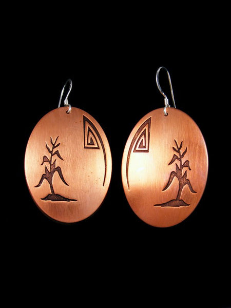 Navajo Copper Dangle Overlay Earrings