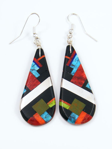 Jet and Apple Coral Santo Domingo Inlay Dangle Earrings