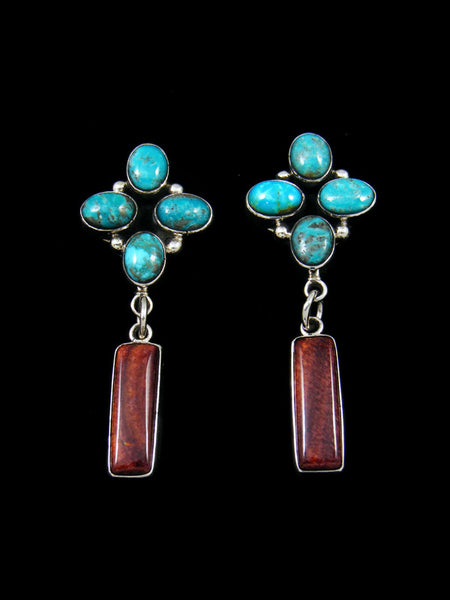 Navajo Turquoise and Spiny Oyster Post Earrings