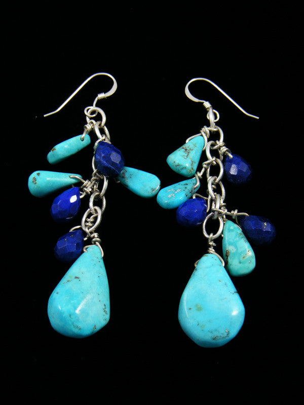 Turquoise and Lapis Beaded Dangle Earrings