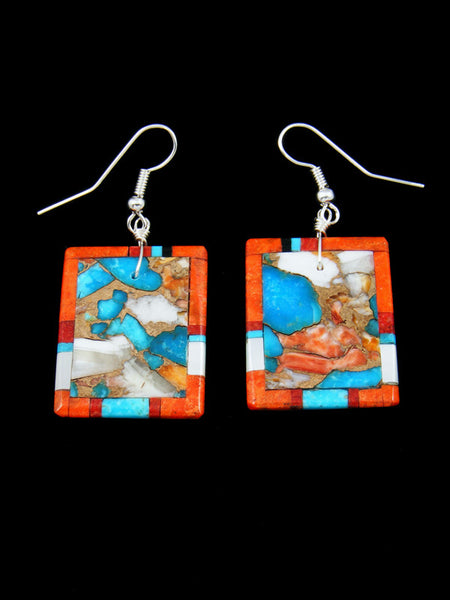 Santo Domingo Mosaic Inlay Turquoise Coral Dangle Earrings