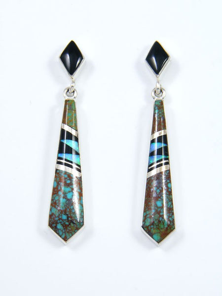 Navajo Sterling Silver Turquoise and Onyx Post Earrings