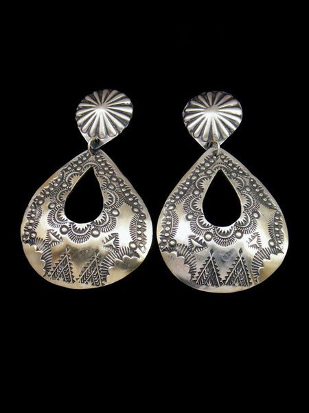 Stamped Navajo Brushed Sterling Silver Post Earrings