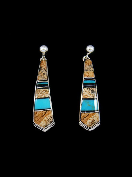 Navajo Sterling Silver Jasper and Turquoise Inlay Earrings