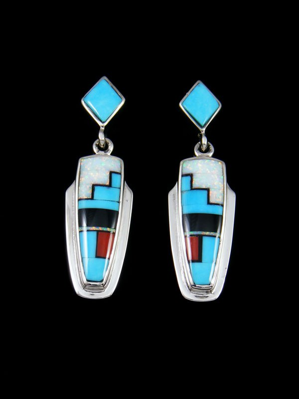 Navajo Turquoise and Opalite Inlay Post Earrings