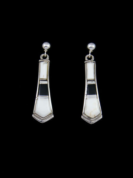 Navajo White Buffalo and Onyx Inlay Sterling Silver Post Earrings