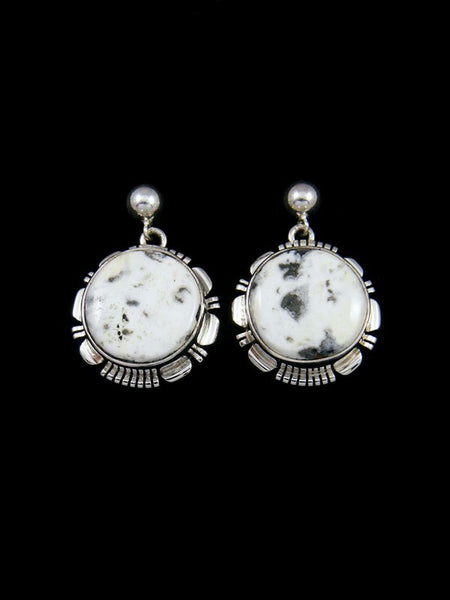 Navajo White Buffalo Sterling Silver Post Earrings