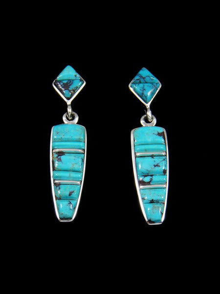 Cornrow Inlay Sterling Silver Turquoise Earrings