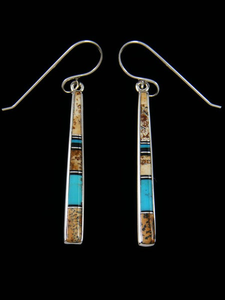 Jasper and Turquoise Navajo Inlay Dangle Earrings