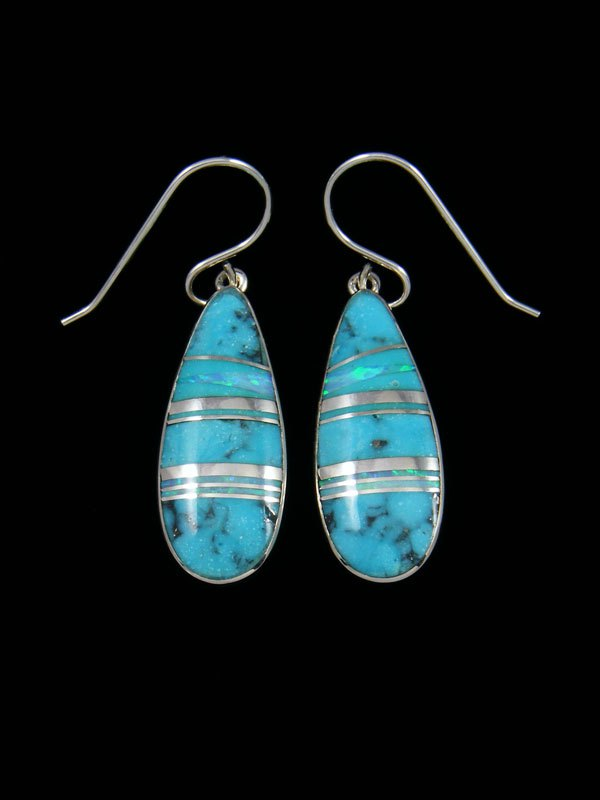 Native American Sterling Silver Turquoise and Opalite Inlay Earrings