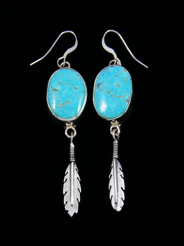 Navajo Turquoise Sterling Silver Dangle Earrings