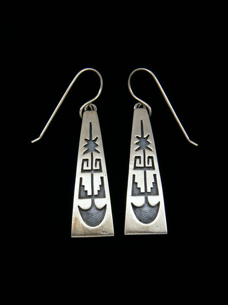 Sterling Silver Hopi Style Overlay Dangle Earrings