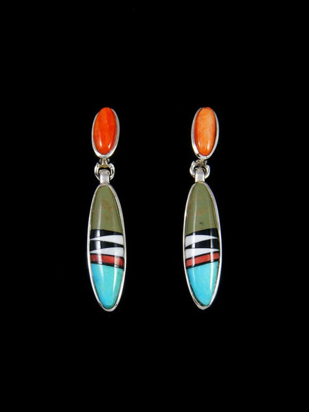 Native American Multi Stone Inlay Post Dangle Earrings